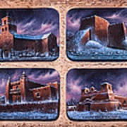 New Mexico Churches In Snow Poster
