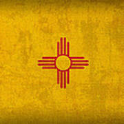 New Mexico State Flag Art On Worn Canvas Poster