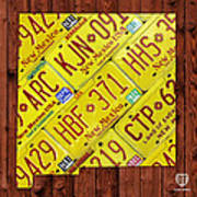 New Mexico State License Plate Map Poster