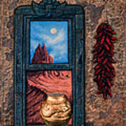 New Mexico Window Gold Poster