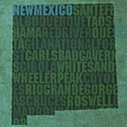 New Mexico Word Art State Map On Canvas Poster