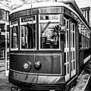 New Orleans Streetcar Black And White Picture Poster