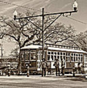 New Orleans Streetcar Sepia Poster