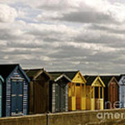 Colourful Wooden English Seaside Beach Huts Poster