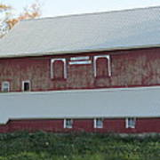 New White Roof  Old Red Barn Poster