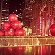 New York City Holiday Decorations Poster