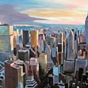 New York City - Manhattan Skyline In Warm Sunlight Poster