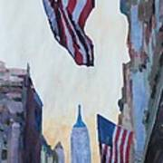New York City - Manhattan Stars And Stripes Poster