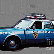 Vintage New York City Police Car 1980s Poster