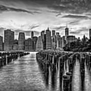 New York City Skyline Sunset Hues Bw Poster