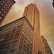 New York City - Skyscraper And Storm Clouds Poster