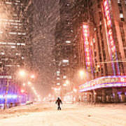 New York City - Snow And Empty Streets - Radio City Music Hall Poster