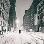 New York City - Snow - Empty Streets At Night Poster