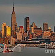 New York City Sundown On The 4th Poster by Susan Candelario