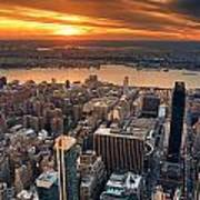 New York City Sunset Panorama Poster