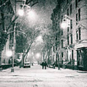 New York City - Winter Night In The West Village Poster