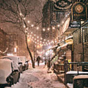 New York City - Winter Snow Scene - East Village Poster