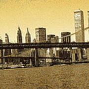 New York Downtown Manhattan Skyline - Yellow Panorama Poster