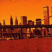 New York Downtown Manhattan Skyline Red Poster