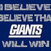 New York Giants I Believe Poster