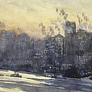 New York Harbor And Skyline At Night Circa 1921 Poster