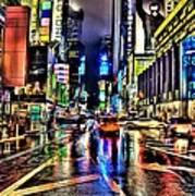 New York Lights In Rain Poster