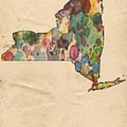 New York Map Vintage Watercolor Poster