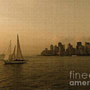 New York Sailing At Sunset Poster by Avis  Noelle