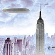 New York Skyline And Blimp Poster