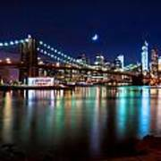 New York Skyline And Brooklyn Bridge With Crescent Moon Rising Poster