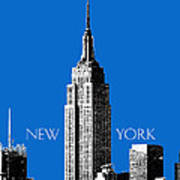 New York Skyline Empire State Building - Blue Poster