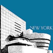 New York Skyline Guggenheim Art Museum - Steel Blue Poster by DB Artist