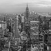 New York Skyline Panorama Bw Poster