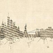 New York Skyline Sheet Music Cityscape Poster