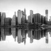 New York Skyline Sunset Bw Poster