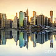 New York Skyline Sunset Poster