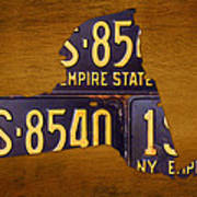 New York State License Plate Map - Empire State Orange Edition Poster