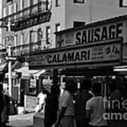 New York City Street Fair - Calamari Sausage - Black And White  Poster