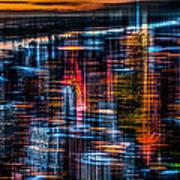 New York- The Night Awakes - Orange Poster by Hannes Cmarits