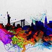 New York  Watercolor Skyline 1 Poster