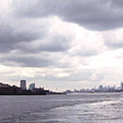 New York Harbor Panorama Twin Towers And Statue Poster