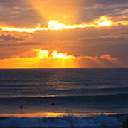New Zealand Surfing Sunset Poster