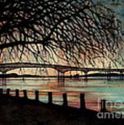 Newburgh Beacon Bridge Sunset Poster by Janine Riley