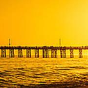 Newport Beach Pier Sunset Panoramic Photo Poster