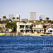 Newport Beach Skyline And Waterfront Homes Picture Poster by Paul Velgos