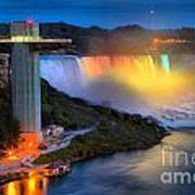 Niagara American Falls At Night Poster