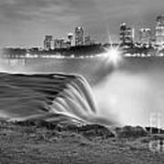 Niagara Falls Black And White Starbursts Poster