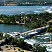Niagara River And Goat Island Aerial View Poster