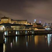 Night At Fairmount Waterworks And The Philadelphia Art Museum Poster