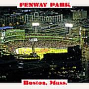 Night Baseball Fenway Park Boston Massachusetts Poster